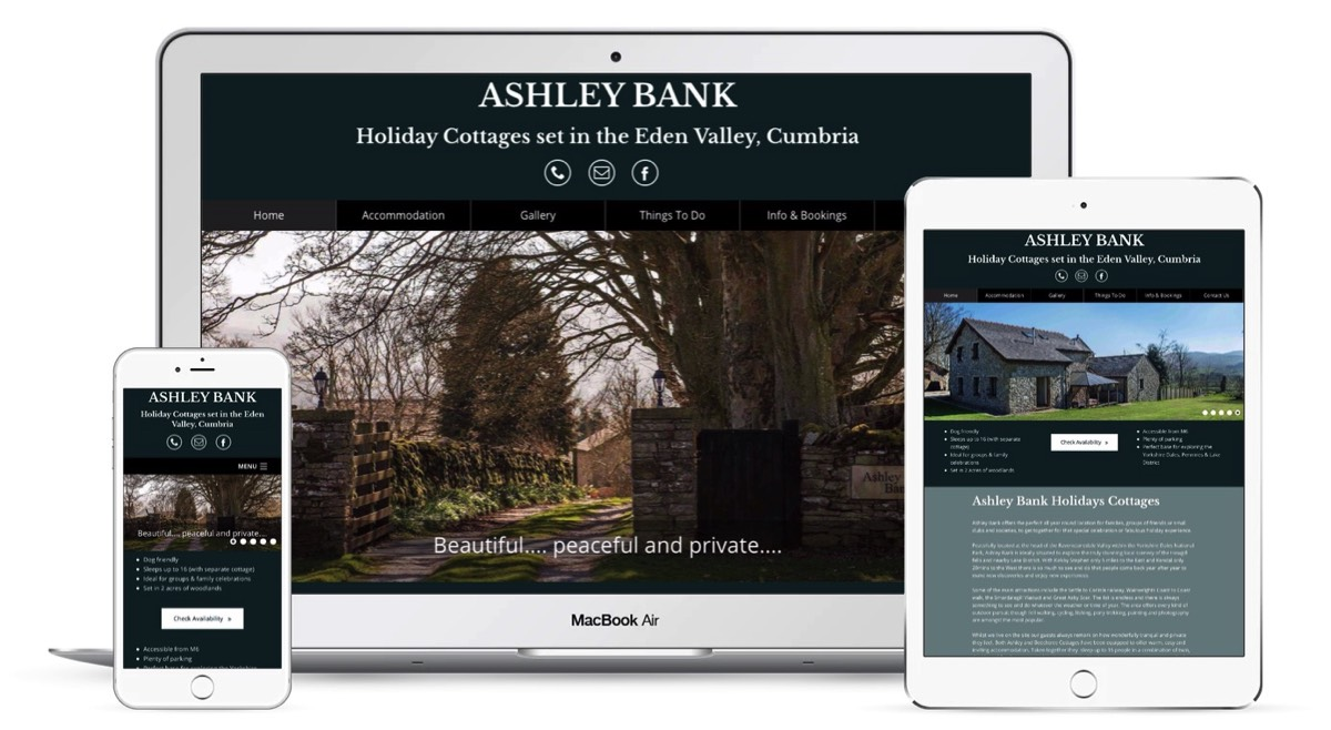 Web design for holiday cottages, guest houses, and hotels in the Lake District in cumbria